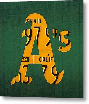 Oakland Athletics Vintage Baseball Logo License Plate Art Metal Print by Design Turnpike