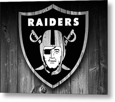 Oakland Raiders Barn Door Metal Print by Dan Sproul