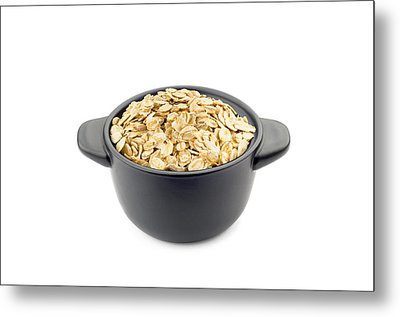 Oat Flakes In A Black Cup Metal Print by Alain De Maximy