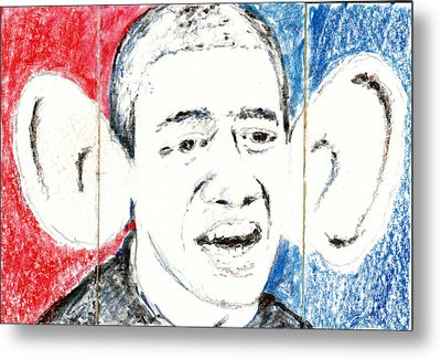 Barack Obama Action Figure Triptych Metal Print by Art Now And Here