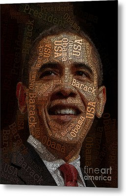 Obama Typography Art Metal Print by Boon Mee