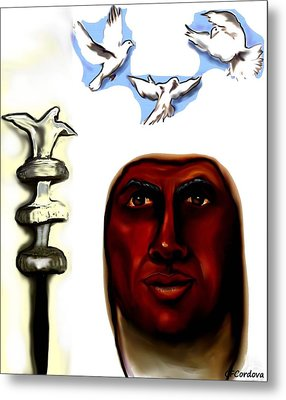 Obatala -king Of White Cloth Metal Print by Carmen Cordova