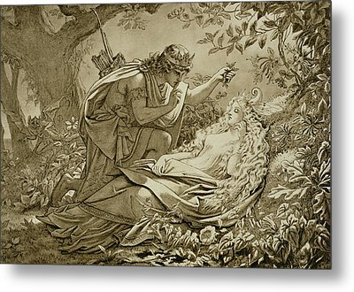 Oberon And Titania Metal Print by English School
