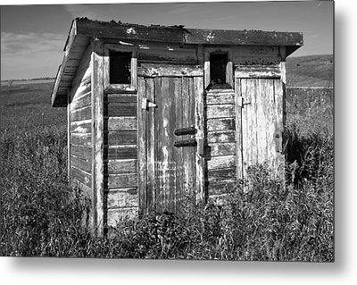 Obsolete Country School Outhouse Metal Print by Donald  Erickson