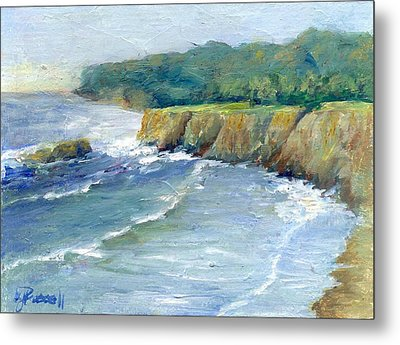Ocean Surf Colorful Original Seascape Painting Metal Print by K Joann Russell