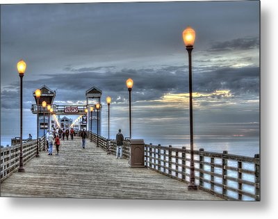 Oceanside Pier At Sunset Metal Print by Ann Patterson