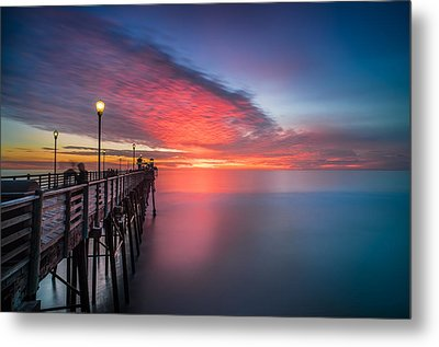 Oceanside Pier Sunset 16 Metal Print by Larry Marshall