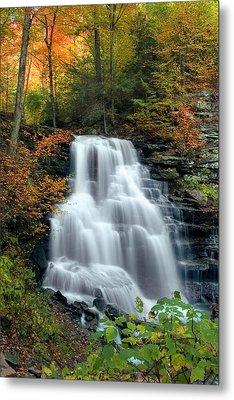 October Foliage Surrounding Erie Falls Metal Print by Gene Walls