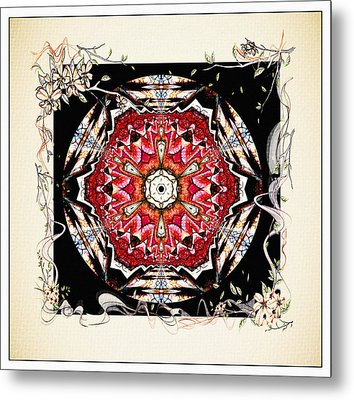 Of Wine And Roses Vintage Mandala Design Metal Print by Georgiana Romanovna