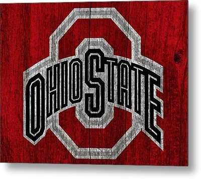 Ohio State University On Worn Wood Metal Print by Dan Sproul