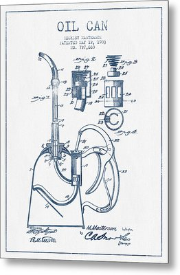 Oil Can Patent From 1903 - Blue Ink Metal Print by Aged Pixel
