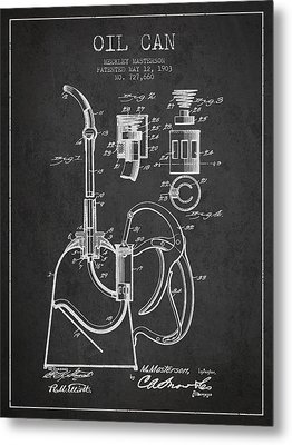 Oil Can Patent From 1903 - Dark Metal Print by Aged Pixel