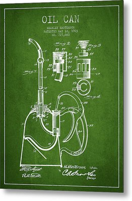 Oil Can Patent From 1903 - Green Metal Print by Aged Pixel