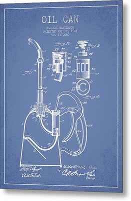 Oil Can Patent From 1903 - Light Blue Metal Print by Aged Pixel