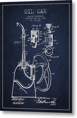 Oil Can Patent From 1903 - Navy Blue Metal Print by Aged Pixel