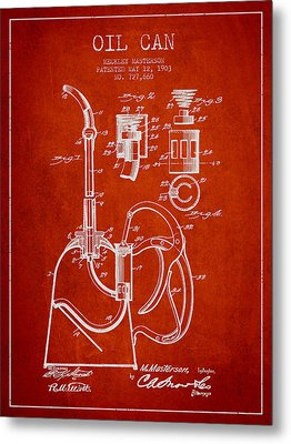 Oil Can Patent From 1903 - Red Metal Print by Aged Pixel