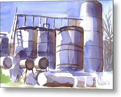 Oil Depot In April Metal Print by Kip DeVore