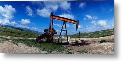 Oil Drill On A Landscape, Taft, Kern Metal Print by Panoramic Images