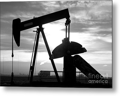 Oil Well Pump Jack Black And White Metal Print by James BO  Insogna