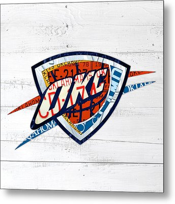 Okc Thunder Basketball Team Retro Logo Vintage Recycled Oklahoma License Plate Art Metal Print by Design Turnpike