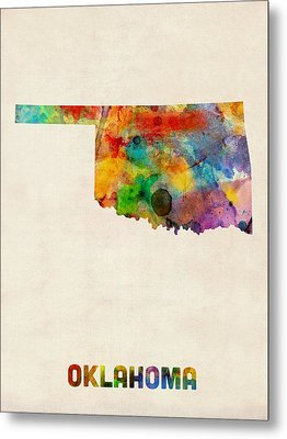 Oklahoma Watercolor Map Metal Print by Michael Tompsett