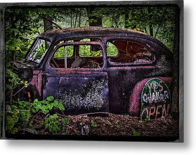 Old Abandoned Car In The Woods Metal Print by Paul Freidlund