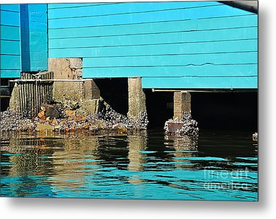Old Aqua Boat Shed With Aqua Reflections Metal Print by Kaye Menner