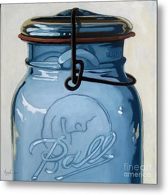 Old Ball Jar -oil Painting Metal Print by Linda Apple