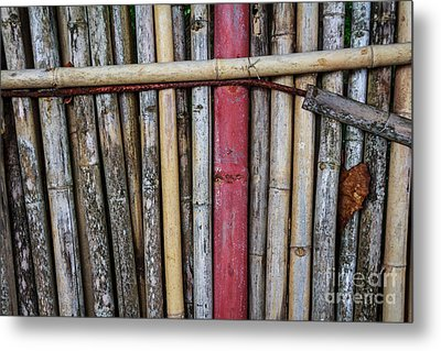 Old Bamboo Fence Metal Print by Niphon Chanthana