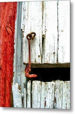 Old Barn Door Hook Metal Print by Julie Dant