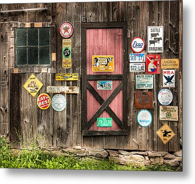 Old Barn Signs - Door And Window - Shadow Play Metal Print by Gary Heller