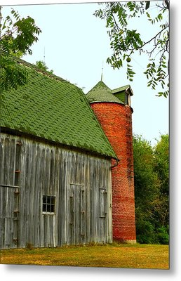 Old Barn With Brick Silo II Metal Print by Julie Dant