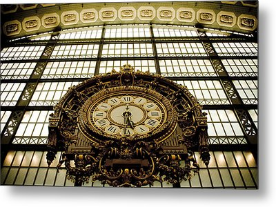 old big awsome clock from Museum dOrsay in Paris France Metal Print by Raimond Klavins