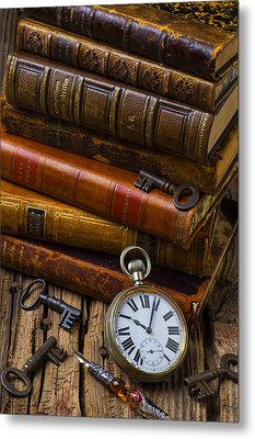 Old Books And Pocketwatch Metal Print by Garry Gay
