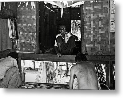 Old Burmese Smoker Woman Metal Print by RicardMN Photography
