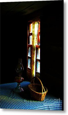 Old Cabin Table With Lamp And Basket Metal Print by Julie Dant