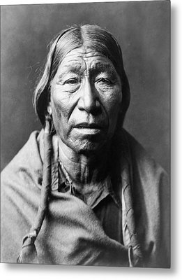 Old Cheyenne Man Circa 1910 Metal Print by Aged Pixel