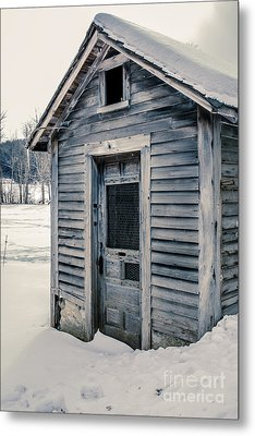 Old Chicken Coop Etna New Hampshine In The Winter Metal Print by Edward Fielding