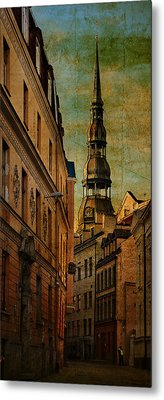Old City Street - Stylized To Old Image Metal Print by Gynt