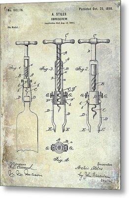 Corkscrew Patent Metal Print by Jon Neidert