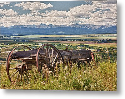 Old Country Wagon Mountains Metal Print by Rob Moses