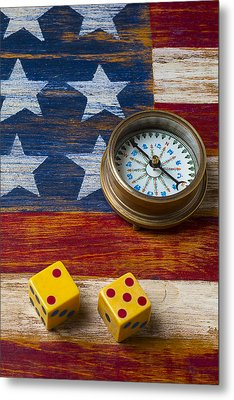 Old Dice And Compass Metal Print by Garry Gay