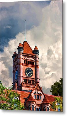 Old Dupage County Courthouse Clouds Metal Print by Christopher Arndt