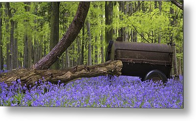 Old Farm Machinery In Vibrant Bluebell  Spring Forest Landscape Metal Print by Matthew Gibson