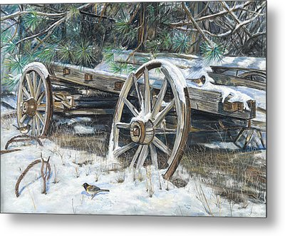 Old Farm Wagon Metal Print by Nick Payne