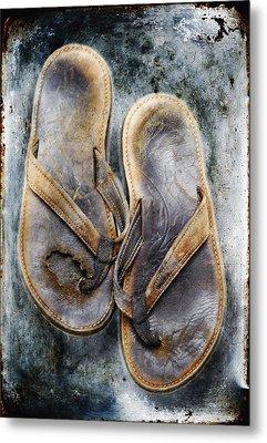 Old Flip Flops Metal Print by Skip Nall