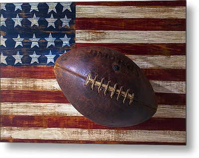 Old Football On American Flag Metal Print by Garry Gay