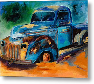 Old Ford In The Back Of The Field Metal Print by Elise Palmigiani
