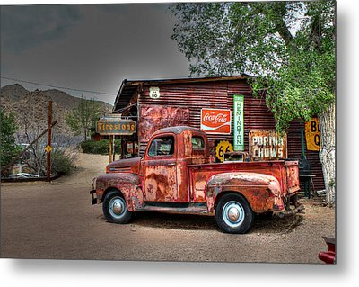 Old Ford Pickup On Route 66 Metal Print by Lynn Jordan