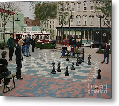 Old Galveston Square Metal Print by Jimmie Bartlett
